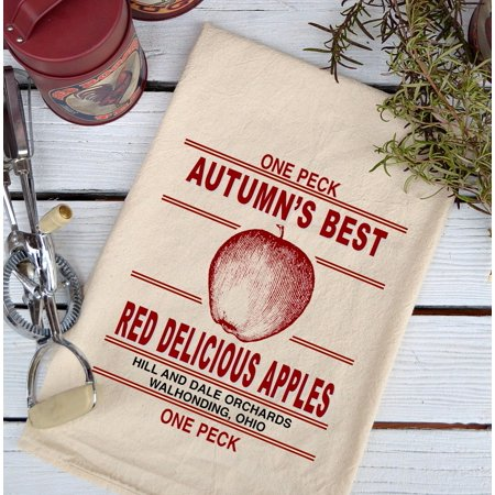 Farmhouse Natural Flour Sack Fall Autumn's Best Red Apples Country Kitchen (Best Apples)