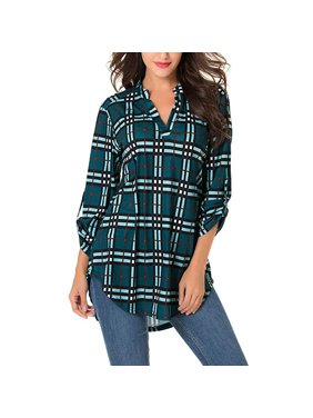 01ff3e454 Product Image Women Roll-Up 3/4 Sleeve Plaid Shirt Tunic V Neck Casual  Pullover Blouses