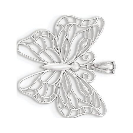 Grande poli Or blanc 14 ct papillon Pendentif / Breloque - image 1 de 2
