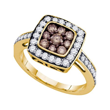 10k Yellow Gold Womens Cognac-brown Color Enhanced Diamond Square Cluster Ring 1.00 Cttw - image 1 de 1