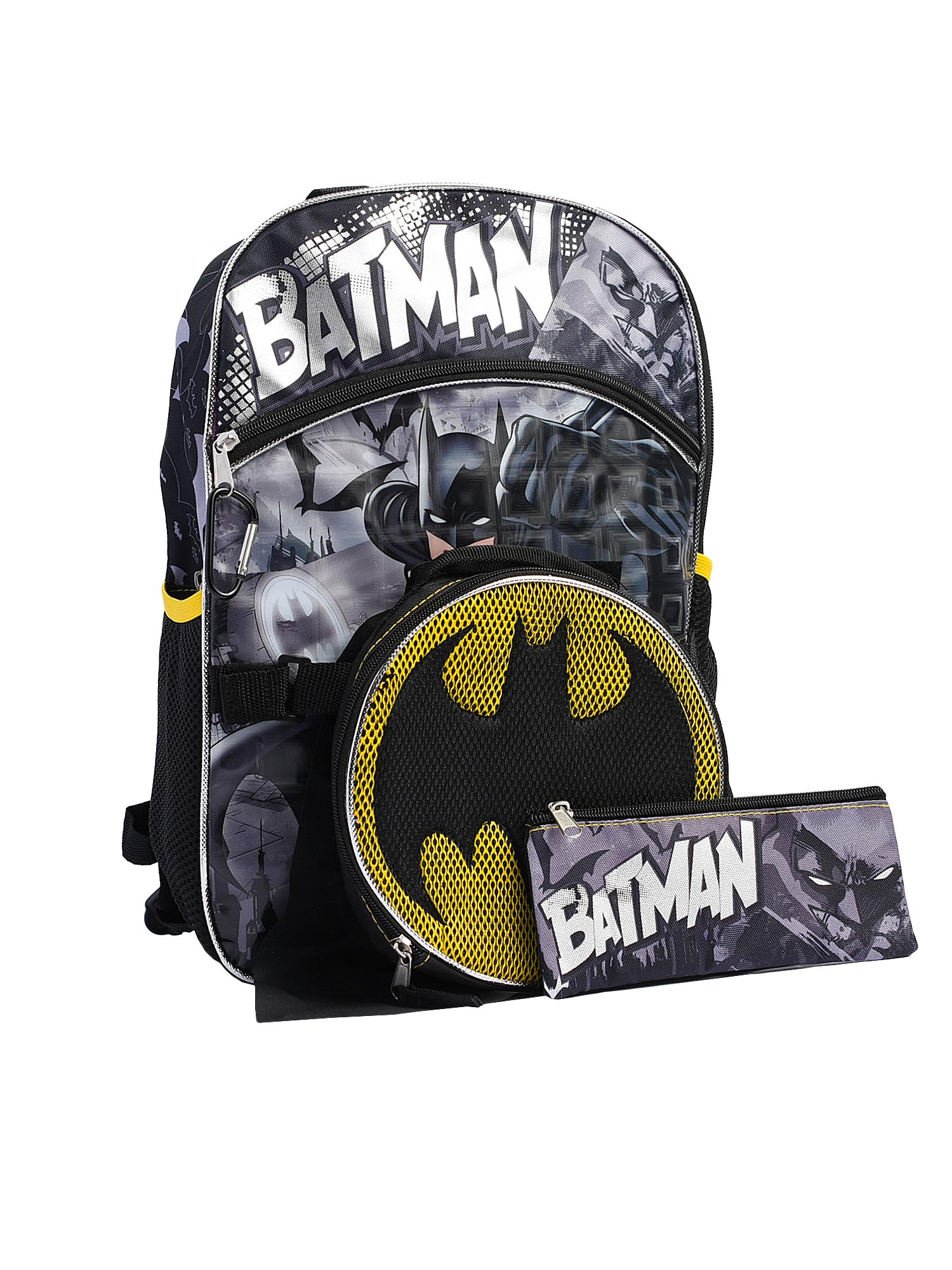 """Boys Batman Backpack 16"""" w/ Insulated Lunch Bag, Pencil Case & Carabiner 4-Piece"""