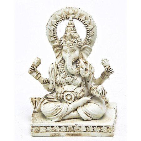 Rare Lord Ganesh Ganesha Beautiful Statues Hindu Good Luck God - 4.5 White Statues