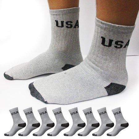 8 Pairs CREW Mens Solid Sports Socks Cotton 10-13 Grey Athletic Usa Long Tube (Mens Gray Tube Socks)