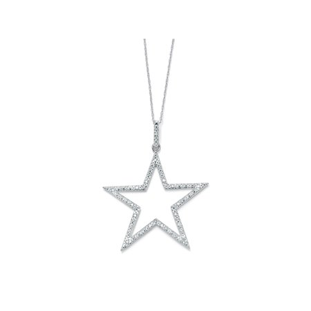 1/10 TCW Round Diamond Star-Shaped Pendant and Chain in Platinum over Sterling Silver 18""