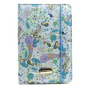 JAVOedge Blue Paisley Fabric Print Book Case with Angled Stand, Hand Strap for Apple iPad Mini, iPad Mini 2 with Retina