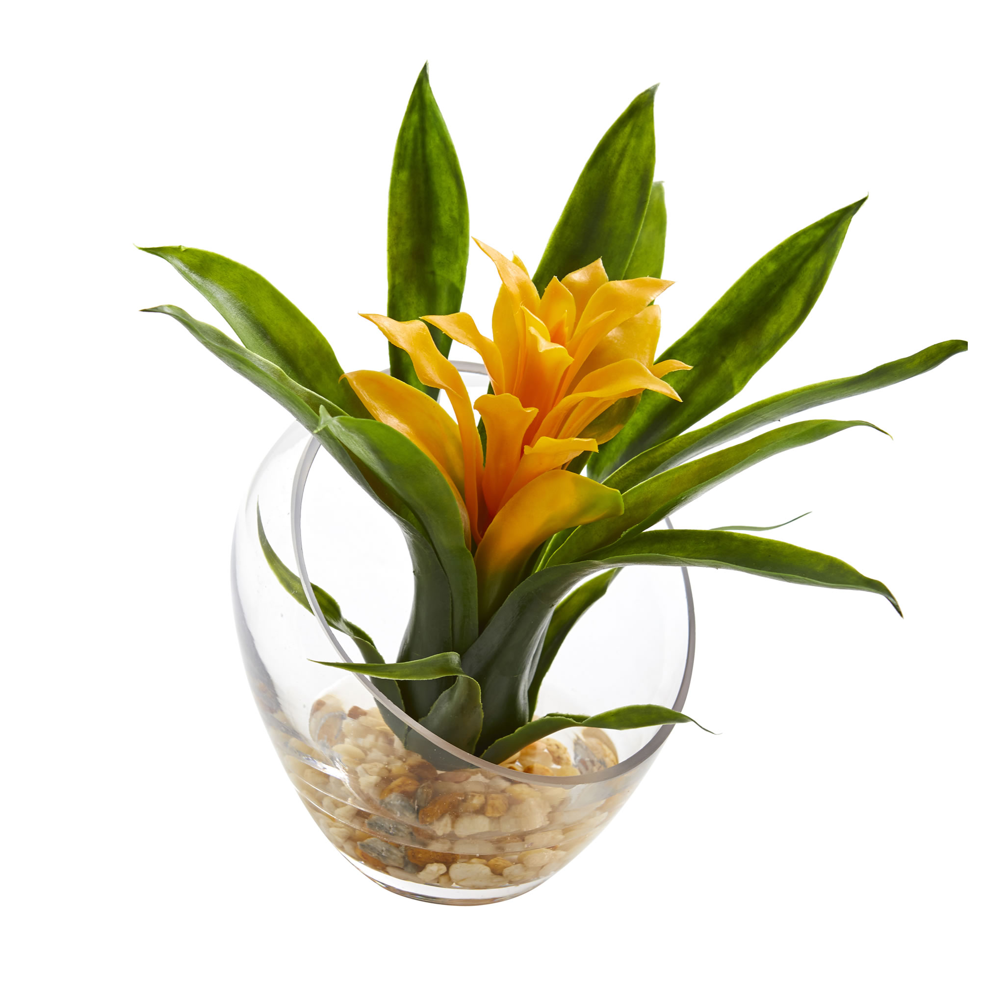 8'' Tropical Bromeliad in Angled Vase Artificial Arrangement