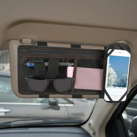 [Universal] GPCT Car SUV Space Sun Visor Storage Organizer Pouch Bag Holder W/ Phone Holder. 2 Pockets, Large Zippered Compartment- Documents/Bills/Tickets/Coupons/Sunglasses/Pens - Minimalist (Sun Visor Hooks)