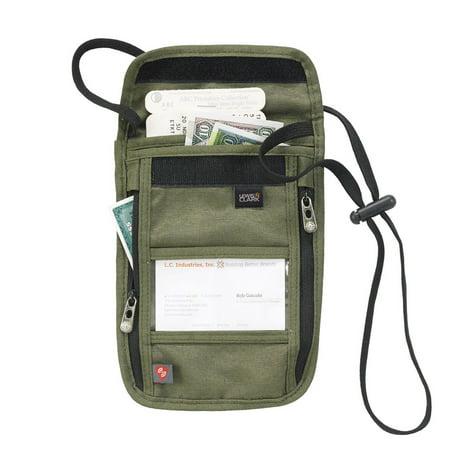 RFID Neck Stash Pouch Travel Holder Passport Id Wallet Bag Lewis N Clark Olive ()
