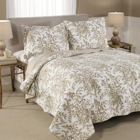Laura Ashley  Bedford Mocha Cotton 3-piece Quilt Set Laura Ashley Plaid Quilt