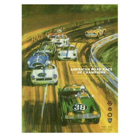 Vintage Sports Car Road Race Poster Print Wall Art
