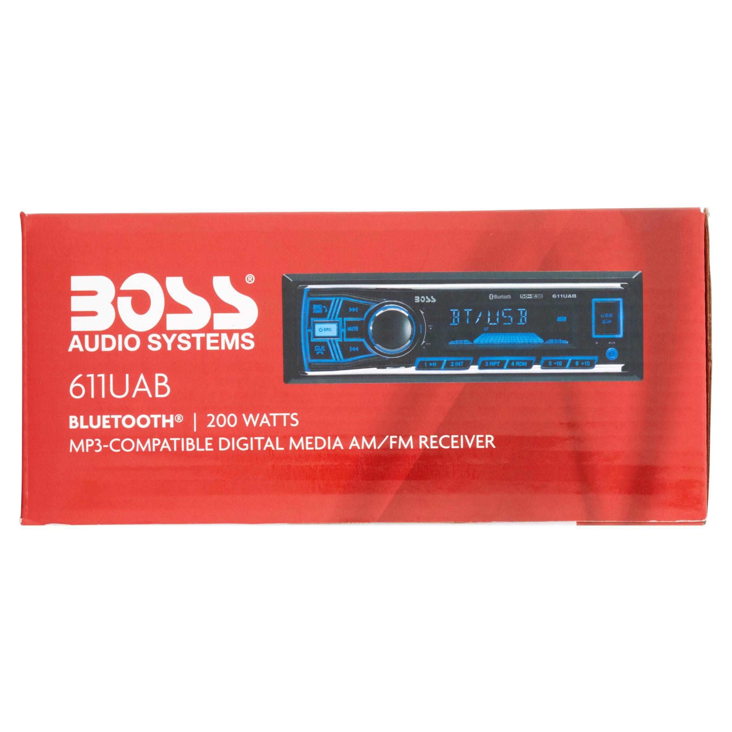 Boss 611UAB Boss Audio 611UAB Single-DIN MECH-LESS Receiver, Bluetooth -  In-dash - MP3, WMA - AM, FM - 12, 18 x AM, FM Preset - SD - Bluetooth - USB  ...