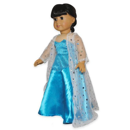Doll Dress - Queen Elsa Inspired Outfit Fits American Girl Doll, My Life Doll, Our Generation and 18 inch (Elsa's Dress In Real Life)