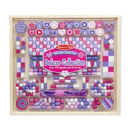 (Melissa & Doug Deluxe Collection Wooden Bead Set with 340+ Beads for Jewelry-Making)