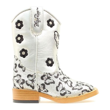 Blazin Roxx Toddler-Girls' Pecos Glitter Zipper Cowgirl Boot Square Toe - 4411066](Light Up Cowgirl Boots)