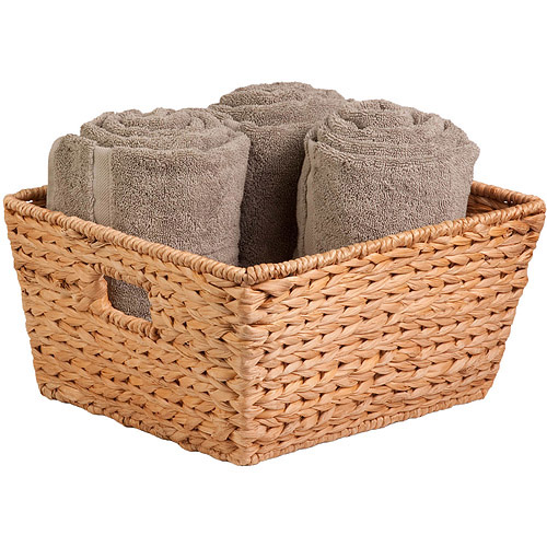 Honey Can Do Large Water Hyacinth Basket with Iron Frame, Brown