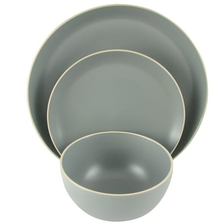 Gibson Home Rockaway 12 piece Dinnerware Set in Grey