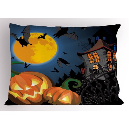 Halloween Pillow Sham Gothic Halloween Haunted House Party Theme Design Trick or Treat for Kids Print, Decorative Standard Size Printed Pillowcase, 26 X 20 Inches, Multicolor, by Ambesonne