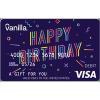 Vanilla Visa Happy Birthday eGift Cards (email delivery)
