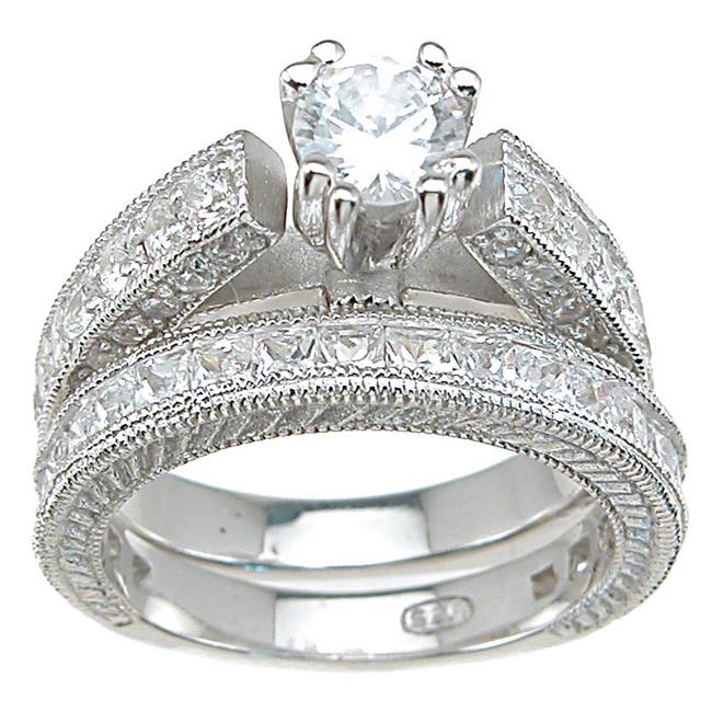 Plutus kkrs6301a 925 Sterling Silver Rhodium Finish CZ Princess Wedding Set Ring Size 6