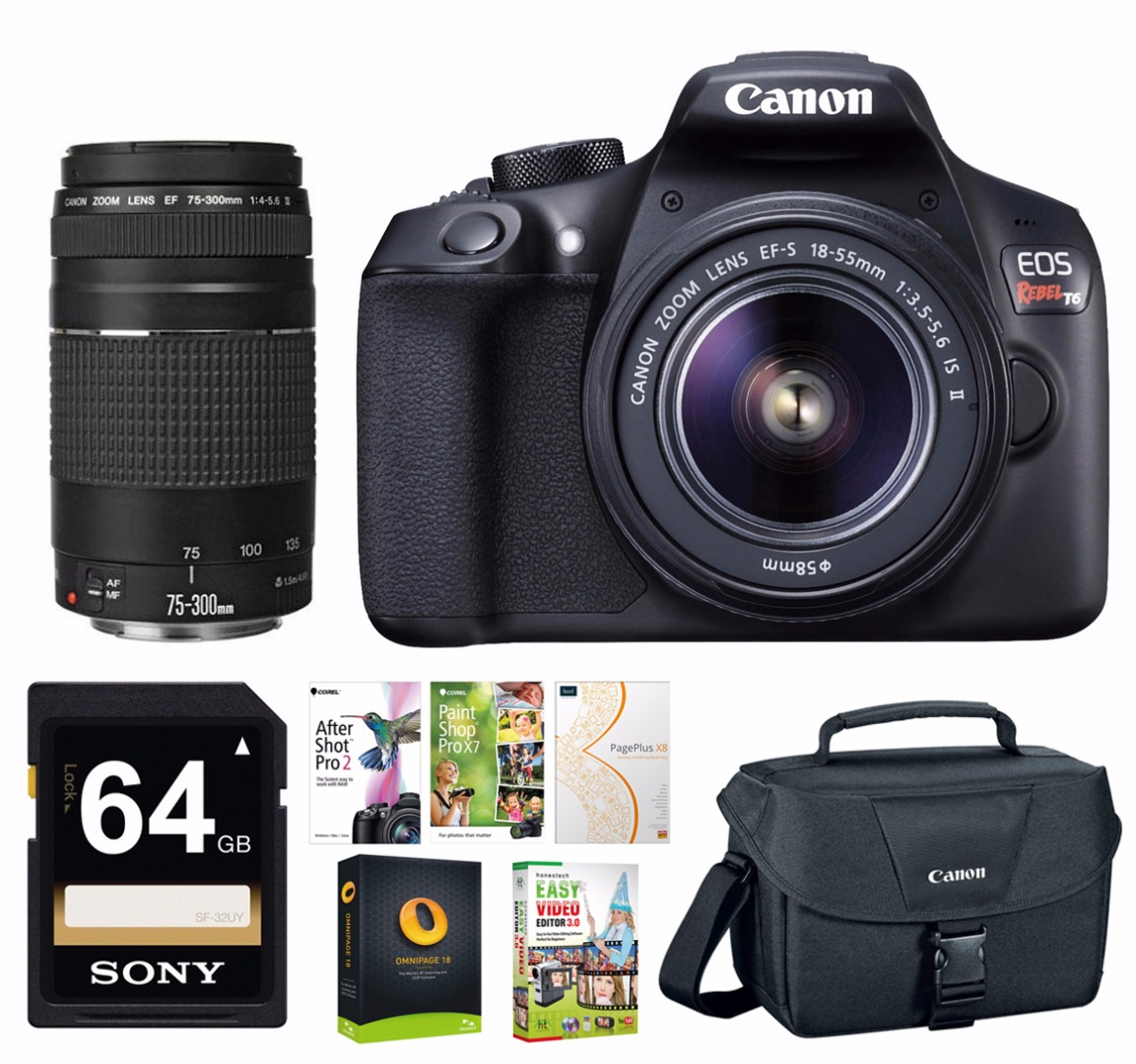 Canon Rebel T6 w/ 18-55mm & 75-300mm Lenses & Premium Software Bundle - Corel Suite, 64GB SD Card Bundle, Camera Bag
