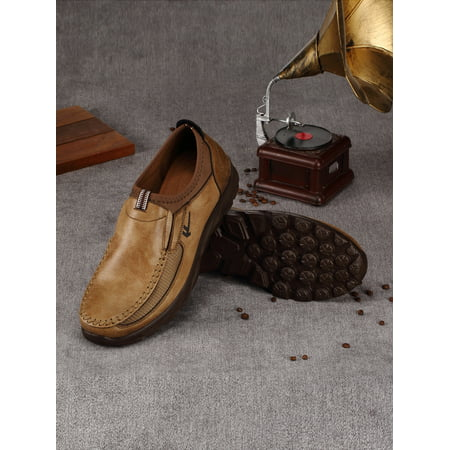 f6be9f8ea5e NK - Old Beijing Men s Leather Casual Shoes Breathable Antiskid Loafers  Moccasins Grey Camel Army Green - Walmart.com