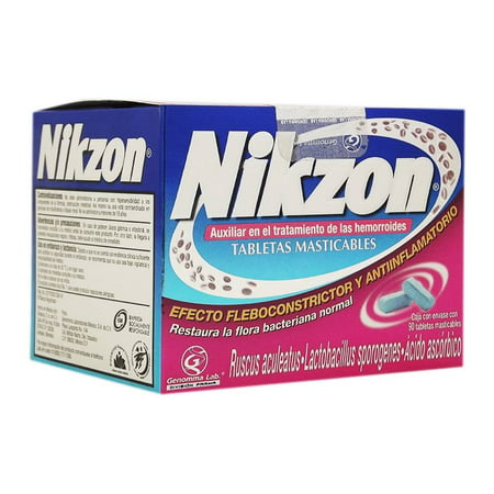 Nikzon 90 Tabs. Chewable treatment For Hemorrhoid Anti Inflammatory
