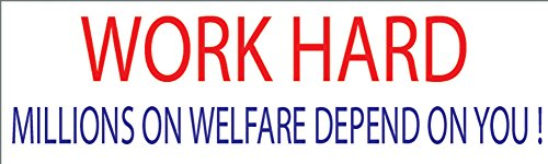 10x3 Patriotic Bumper Sticker Auto Decal Conservative Republican Work Hard Millions on Welfare Depend On You... by Rogue River Tactical