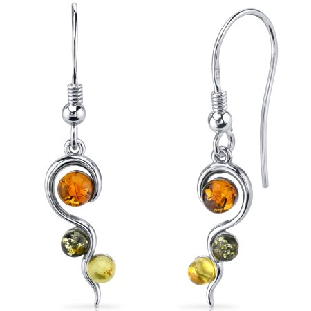Peora Squiggle Baltic Amber Sterling Silver Drop Earrings Rhodium - Cosmo Amber Finish