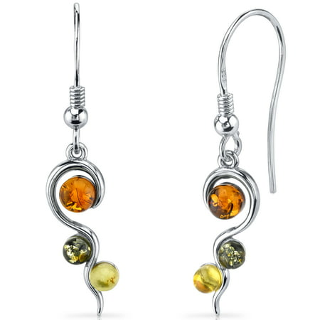Peora Squiggle Baltic Amber Sterling Silver Drop Earrings Rhodium Finish