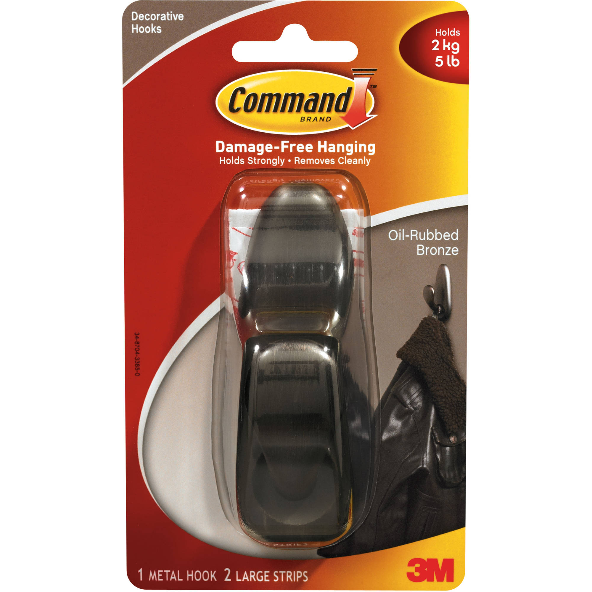 Command Large Oil Rubbed Bronze Metal Hook, 1 Hook, 2 Strips/Pack