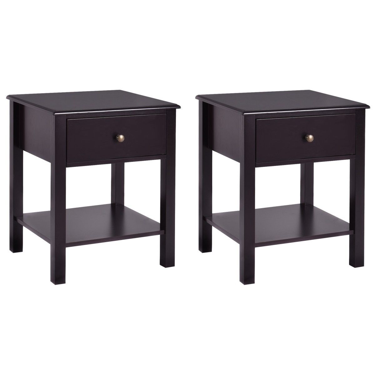Costway 2 PCS Nightstand End Table Storage Display  Furniture Drawer Shelf Beside