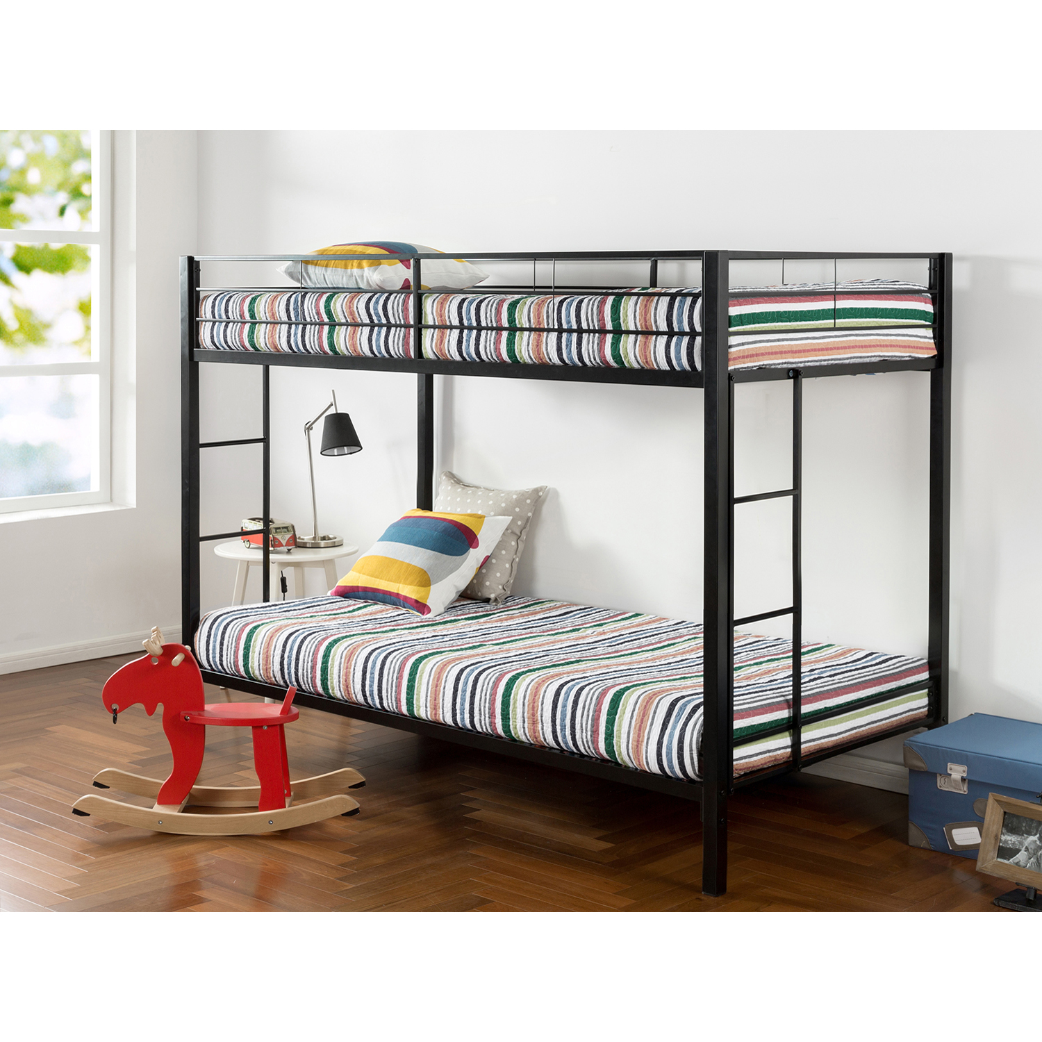 Zinus Easy to Assemble Twin over Twin Classic Quick Lock Metal Bunk Bed with Dual Ladders