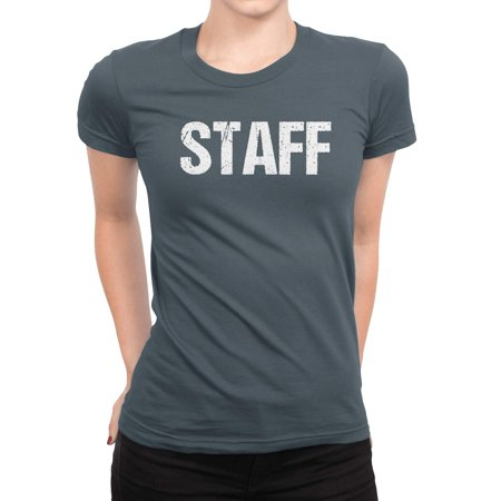 Halloween Bar Events Nyc (NYC FACTORY Ladies Charcoal Staff T-Shirt Front & Back Print Event Shirt Womens Tee)
