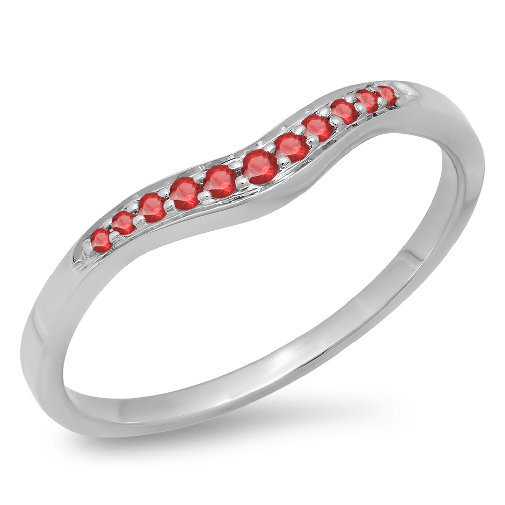 0.11 Carat (ctw) 10K White Gold Round Cut Ruby Ladies Anniversary Wedding Stackable Contour Guard Band