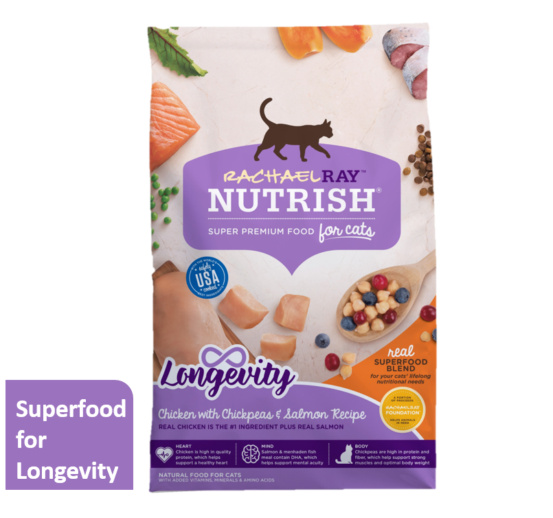 Rachael Ray Nutrish Longevity Natural Chicken with Chickpeas & Salmon Dry Cat Food (Various Sizes)