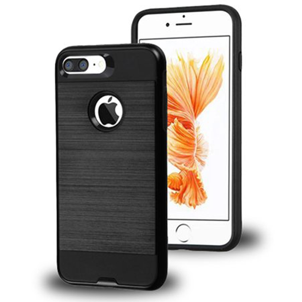 Apple IPhone 7 Plus Hybrid Brushed Shockproof Tough Case Cover Black
