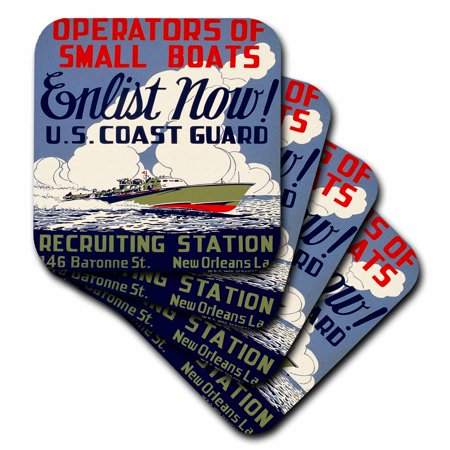 3dRose US Coast Guard Operators of Small Boats Enlist Now Recruiting Poster, Soft Coasters, set of 8