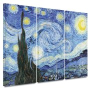ArtWall ''Starry Night'' by Vincent van Gogh 3 Piece  Painting Print on Canvas Set