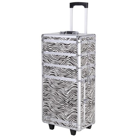 Pro 4in1 Aluminum Rolling Makeup Case Cosmetic Train Box Trolley Zebra - Zebra Makeup