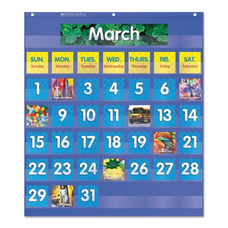 Scholastic Monthly Calendar Pocket Chart, 25 1/2 x 10 x 0.13, Blue/Clear -SHS511479 for $<!---->