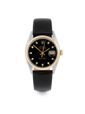 Pre Owned Rolex Datejust 16013 w/ Black Diamond Dial 36mm Men's Watch (Certified Authentic & Warranty Included)