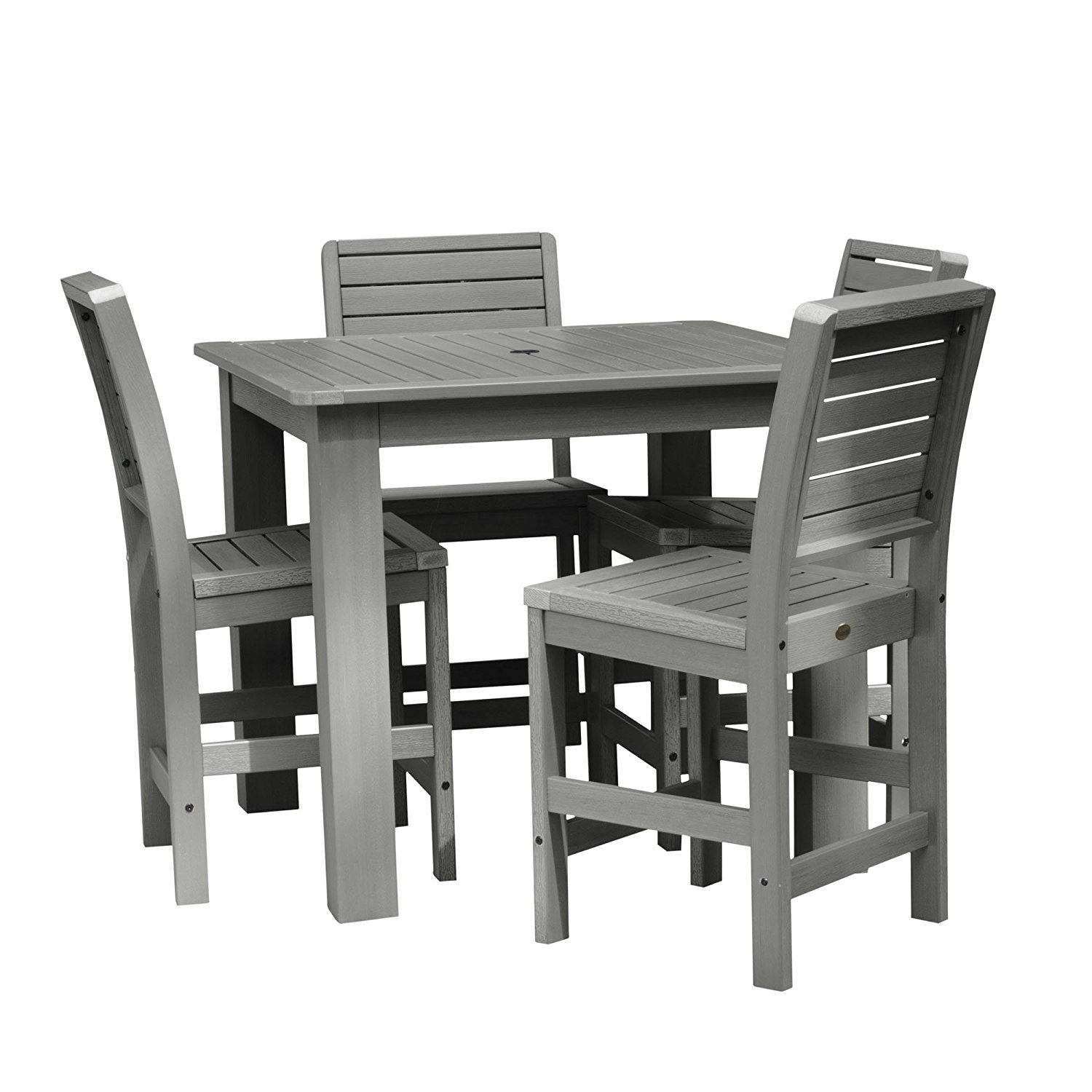 AD-CNW44-CGE All-Weather Coastal Teak Color 4 side chairs plastic furniture Weatherly 5pc Square... by Highwood USA