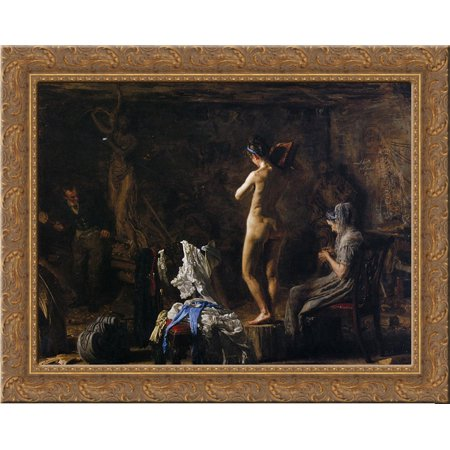 William Rush Carving His Allegorical Figure of the Schuykill River 24x20 Gold Ornate Wood Framed Canvas Art by Thomas Eakins ()