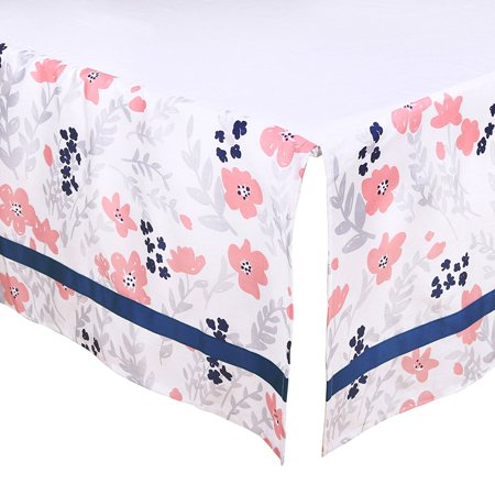 Brand New  Coral Pink And Navy Blue Floral Tailored Crib Dust Ruffle    High Quality
