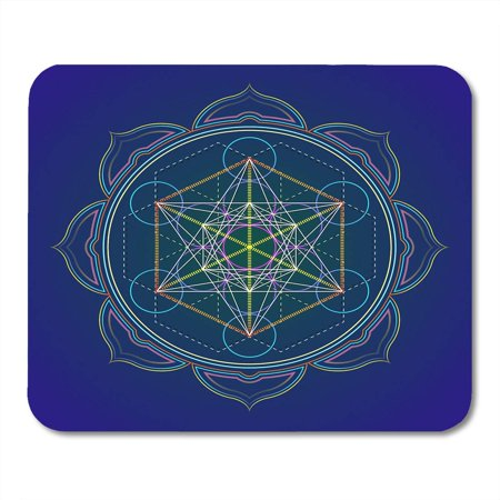 LADDKE Colorful Abstract Colored Mandala Sacred Geometry Metatron Cube Yantra Lotus Dark Alchemy Mousepad Mouse Pad Mouse Mat 9x10 inch