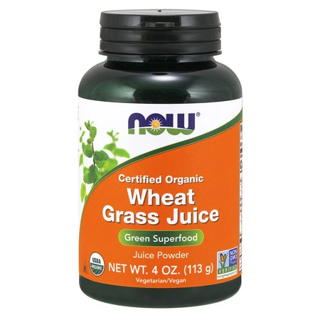 NOW Supplements, Certified Organic and Non-GMO, Wheat Grass Juice Powder,Green Superfood,