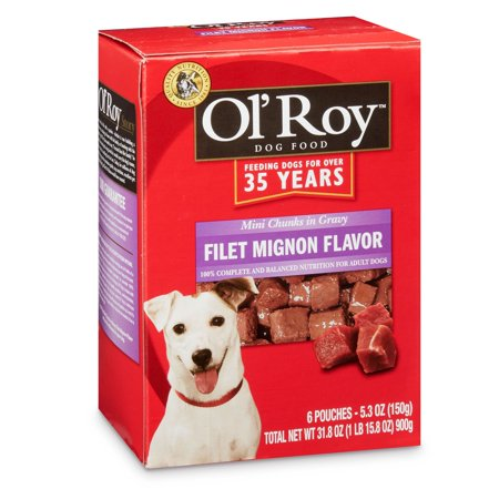 Ol' Roy Mini Chunks in Gravy Wet Dog Food, Filet Mignon Flavor, 5.3 oz, 6 Count