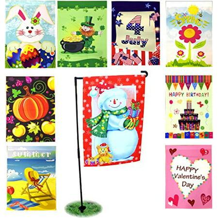 "Seasonal Holiday Garden Flags Set of 9 – 12"" x 18""– Includes FREE BONUS Black Garden Flag Pole Stand"
