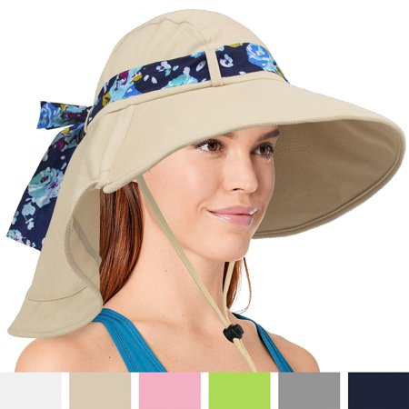 Womens Sun Hat, Summer UV Protection Outdoor Hat with Wide Brim, Neck Cover Flap, and Adjustable Chin Strap | UPF50 + Breathable Foldable Ladies Cap for Gardening, Hiking, (Best Sun Hat For Hiking)