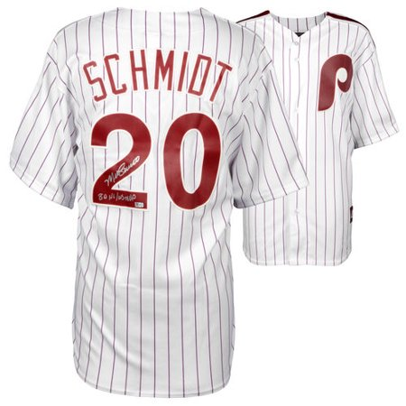 Mike Schmidt Philadelphia Phillies Autographed Majestic Cooperstown Replica White Jersey With 80 Nl Ws Mvp Inscription